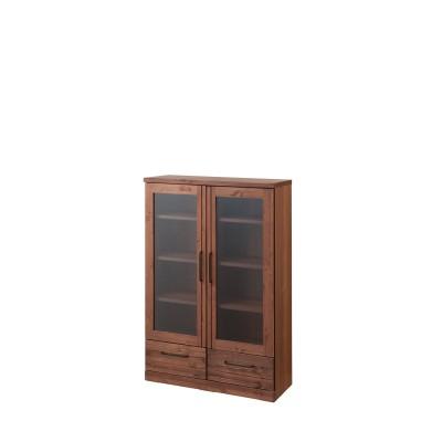 ヴィンテージ調のガラス扉本棚