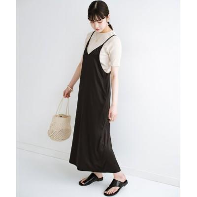 (haco!/ハコ)定番Tシャツと一緒に着るだけでかわいくなれる マーメイドシルエットが女っぽいサテンキャミワンピースby who made me/レディース ブラック