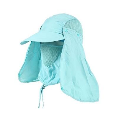 GREENER 多機能 3WAY UV(紫外線)カット速乾性日よけ帽子 + ヘアゴムセット (ライトブルー) 湖?