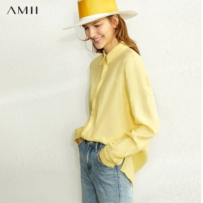 海外輸入アパレル AMIIミニマリズムスプリングリネン無地シャツ女性因果ラペルシングルブレストルーズシャツトップス12020024  AMII Min