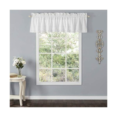 Laura Ashley Home   Annabella Bedding Collection   Stylish Premium Hotel Quality Valance Curtain, Chic Decorative Window Treatment for Home D〓cor, Wh