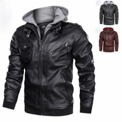 レザージャケット メンズ ライダースジャケット 革ジャン バイクウェア アウター ジャンパー カジュアル ストリート 秋服フード付き
