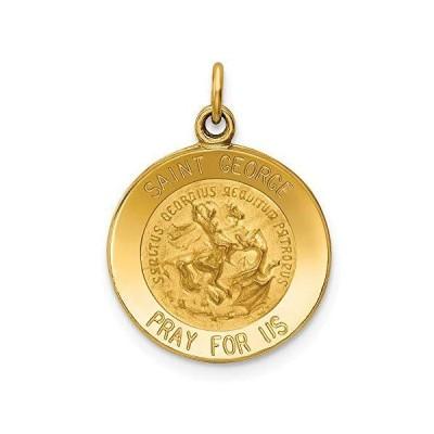 Solid 14k Yellow Gold Catholic Patron Saint George Medal Charm Pendant - 23mm x 16mm