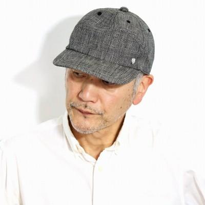 帽子 メンズ 春夏 キャップ 大きいサイズ 麻素材 リネン ダックス グレンチェック 柄 DAKS 英国ブランド 父の日 ギフト 大人 黒 ブラック