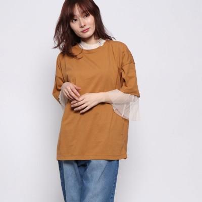 スタイルブロック STYLEBLOCK 天竺Tシャツ×チュールインナーセット (キャメル)