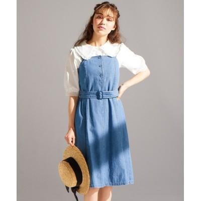 【大きいサイズ】 ライトオンスデニムジャンパースカート(オリーブ。デ。オリーブ) ワンピース, plus size dress