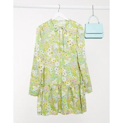 グラマラス レディース ワンピース トップス Glamorous mini smock dress with peplum hem in vintage floral