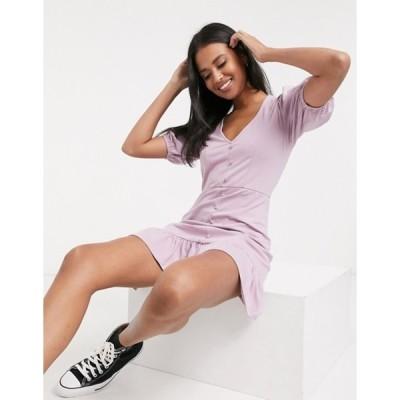 エイソス レディース ワンピース トップス ASOS DESIGN mini tea dress with button through in dusty pink