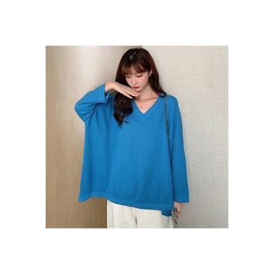 【送料無料】ニット 女 オーバーサイズ 風 セーター 初秋 韓国風 ファッション 単一色 襟   364331_A63619-5359988