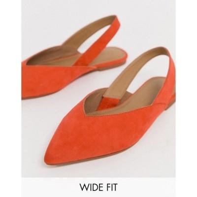 エイソス レディース サンダル シューズ ASOS DESIGN Wide Fit Leisure high vamp slingback ballet flats in orange Coral