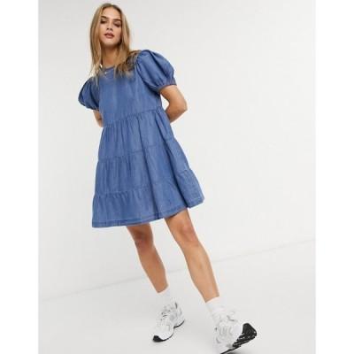 ウェアハウス Warehouse レディース ワンピース デニム ワンピース・ドレス denim smock dress in blue