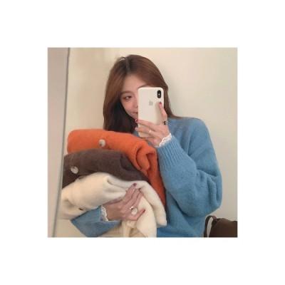 【送料無料】韓国風 ルース オーバーサイズ 風 単一色 何でも似合う ニットカーディガン 女 | 346770_A63793-7523389