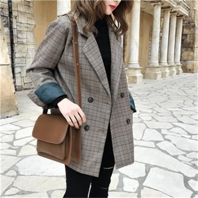 【大好評】新作グレンチェックジャケット スーツジャケット ルーズ ブルゾン  レディース アウター ポケット付き 。