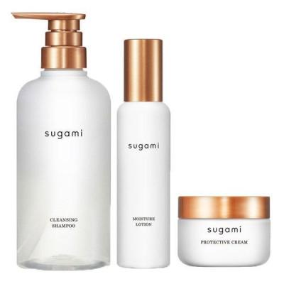送料無料 スガミ(SUGAMI)スキンケア発想ヘアケア シャンプー+ヘアミスト+ヘアクリーム(より乾燥が気になる方へ)ユニリーバ