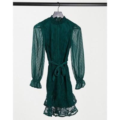 リトルミストレス レディース ワンピース トップス Little Mistress high neck long sleeve lace mini dress with tie belt in emerald green Emerald green