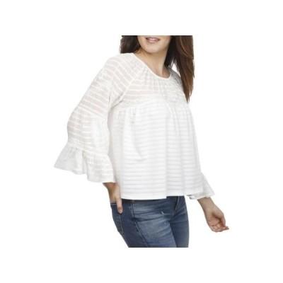 レディース 衣類 トップス Lucky Brand Womens Shadow Stripe Bell Sleeves Blouse ブラウス&シャツ