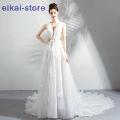 ウェティグドレス Aラインドレス 結婚式 安い 大きいサイズ ロングドレス 二次会 海外挙式 花嫁 ドレス 花嫁 パーティードレス カジュアル トレーン