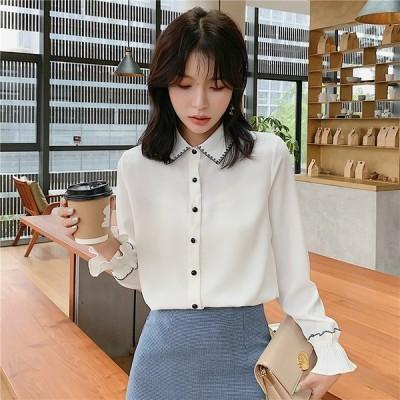 全2色 シャツ ブラウス シャーリング フレアスリーブ 刺繍 大きいサイズ シンプル 韓国風