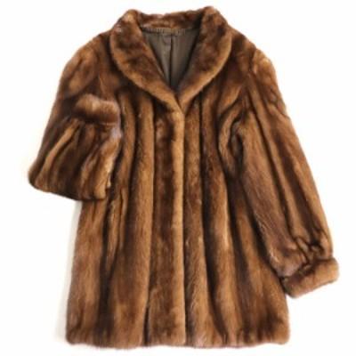 極美品▼OS FUR MINK ミンク 裏地ロゴ柄 本毛皮コート ブラウン 毛質艶やか・柔らか◎