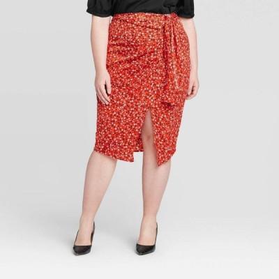 フー ワット ウェアー Who What Wear レディース ひざ丈スカート 大きいサイズ スカート Plus Size Mid-Rise A-Line Midi Skirt - Red