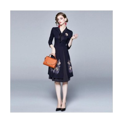 新作 女優気分上品 花柄 刺繍  Vネック 膝丈  M〜3L  ドレス ワンピース ミディアム シンプル エレガント スタイルきれいめ お呼ばれ