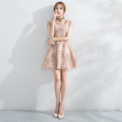 パーティードレス 安い 可愛い イブニングドレス 披露宴 結婚式 2次会 発表会 演奏会 フレア ミニドレス