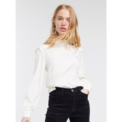 ウェアハウス Warehouse レディース ブラウス・シャツ トップス blouse with frills in ivory アイボリー