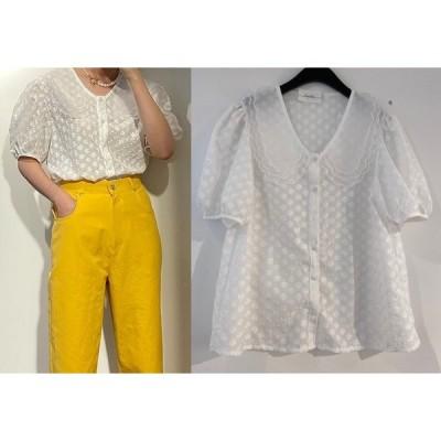シャツ ブラウス 刺繍 切り替え 体型カバー 着痩せ シンプル カジュアル