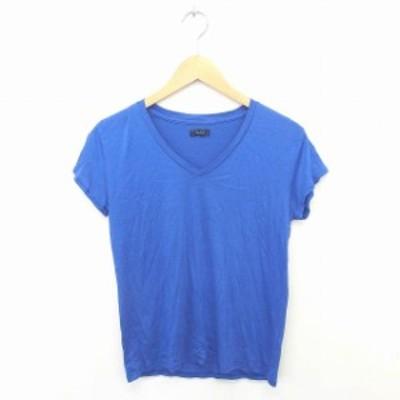 【中古】シップス SHIPS Tシャツ カットソー Vネック 無地 シンプル 薄手 綿 コットン 半袖 青 ブルー /TT17