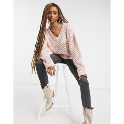 トップショップ レディース ニット・セーター アウター Topshop all over honeycomb knitted sweater in pink