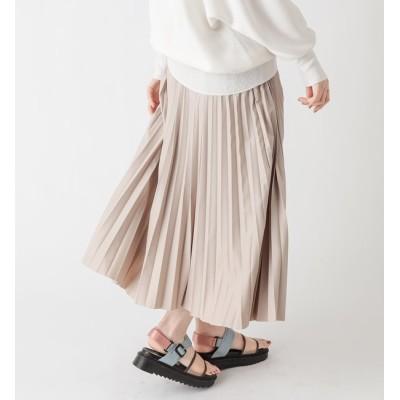 【アンディコール/un dix cors】 動画付き【大人かっこいい印象に】レザープリーツスカート