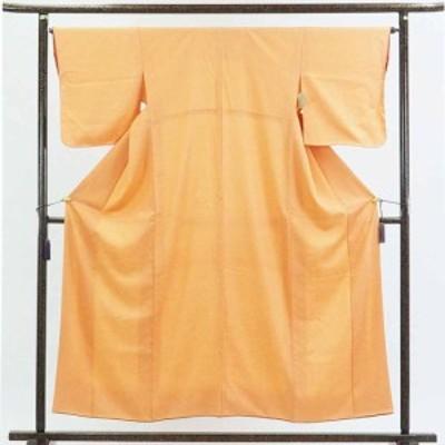 【中古】リサイクル着物 小紋 / 正絹オレンジ地花菱柄袷小紋着物 / レディース【裄Mサイズ】
