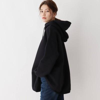シューラルー SHOO-LA-RUE 【フリーサイズ】裾ラウンドパーカー (ブラック)