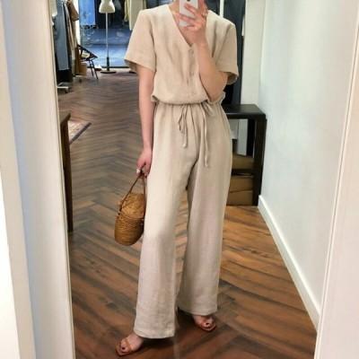 オールインワンパンツ 韓国ファッション ボトムス 部屋着 ルームウエア Vネック つなぎ 20代 30代 春 夏