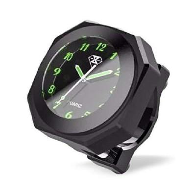 全3色 IPX7級 防水 バイク オートバイ 自転車 用 アナログ 時計 夜光 説明書 付き (ブラック (黒))