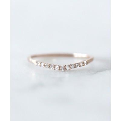 指輪 11粒ダイヤのラインリング[V字][ロゼチナ]