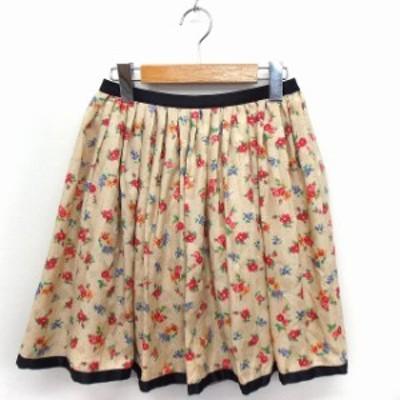 【中古】未使用品 シンシアローリー CYNTHIA ROWLEY タグ付き スカート 花柄 ドット柄 ギャザー ミニ 2 ベージュ /FT
