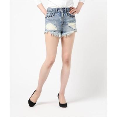 パンツ デニム ジーンズ Womans ポケット編みクラッシュデニムショートパンツ