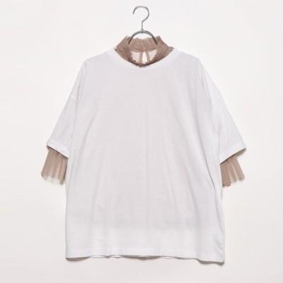 スタイルブロック STYLEBLOCK 天竺Tシャツ×チュールインナーセット (ホワイト)