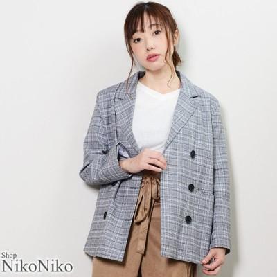 グレンチェックダブルブレストジャケット  即納  アウター ジャケット レディース グレンチェック トレンド  韓国ファッション 流行 トレンド