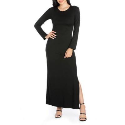 24セブンコンフォート レディース ワンピース トップス Women's Long Sleeve Side Slit Fitted Black Maxi Dress