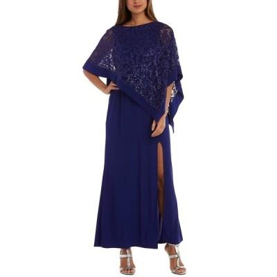 アールアンドエムリチャーズ ワンピース トップス レディース Glitter Lace Overlay Gown Royal Blue