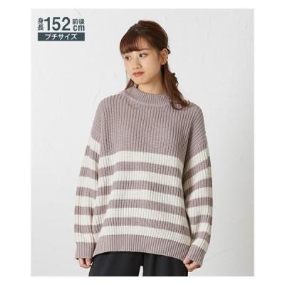 セーター ニット 小さいサイズ レディース ボーダー プルオーバー 冬 P1 ニッセン nissen