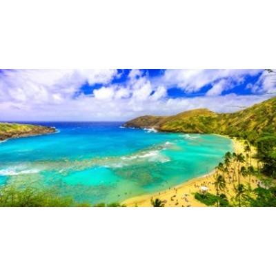 絵画風 壁紙ポスター  エメラルドのハナウマ・ベイと常夏の雲 ハワイ オアフ島 パノラマ HWI-105S1 (1152mm×576mm)