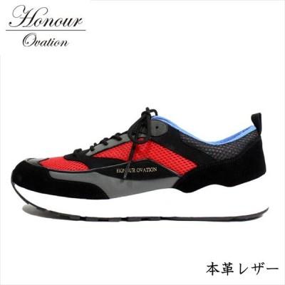 スニーカー メンズ ブランド 本革 レザー シューズ 靴 メンズ Honour Ovation アナーオベーション ブラック 黒 レッド 赤 4070 RE Y_KO 181120