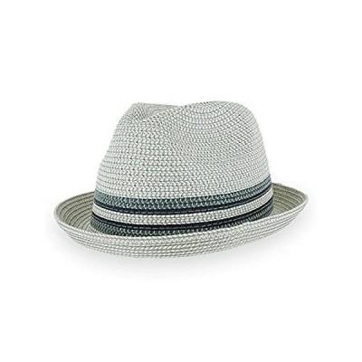 Men/Women Summer Straw Trilby Fedora Hat in Blue, Tan, Black (Large, Daxsto