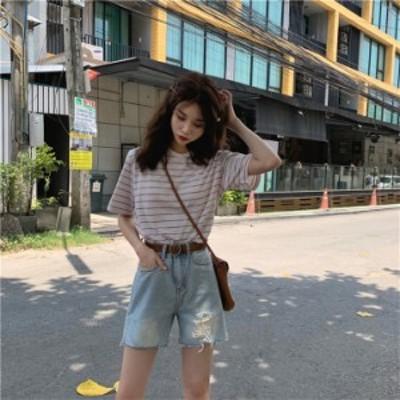 シンプル 韓国 カレッジ風 ショーツ ウォッシュ 5分丈パンツ