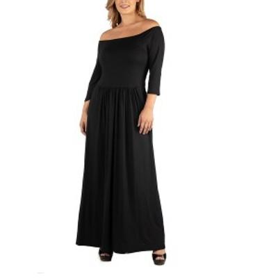 24セブンコンフォート レディース ワンピース トップス Off Shoulder Pleated Waist Plus Size Maxi Dress Black