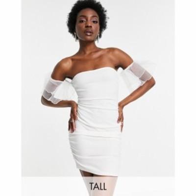 パリジャン Parisian Tall レディース ワンピース ミニ丈 ワンピース・ドレス off shoulder organza sleeve mini dress in white ホワイ