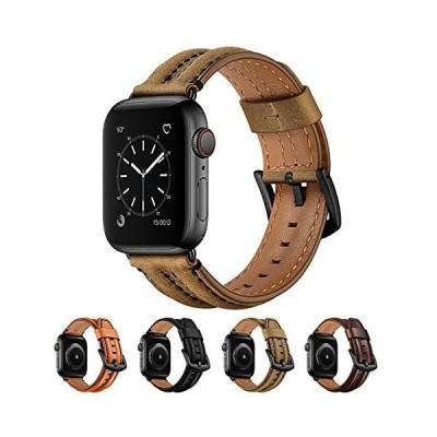 SEURE コ ンパチブル Apple Watch バンド 、ビジネスレザーバンドiWatch 本革 交換バンド、ダブルキールメンズとレディ